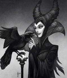 Sleeping Beauty's Malificent villain cartoon illustration via www.Facebook.com/DisneylandForMisfits