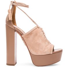 Aquazzura Suede Jac Platform Heels (5.420 HRK) ❤ liked on Polyvore featuring shoes, pumps, heels, leather sole shoes, high heel platform shoes, suede shoes, suede platform pumps and heel pump