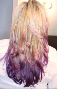 Purple dip dye on blonde. Cute cut and the color is great for epilepsy and chiari awareness.