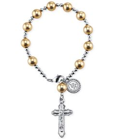Vatican Silver-Tone Gold Bead Rosary Bracelet