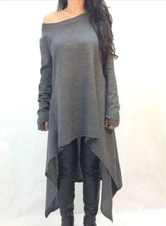 Stylish Skew Neck Long Sleeve Gray Asymmetrical Dress For Women
