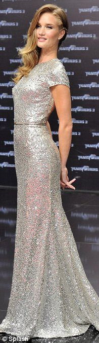 Rosie in silver Naeem Khan dress at the Transformers premiere
