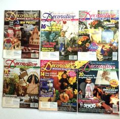Lot 6 Vintage Decorative Woodcrafts Magazines 1996 Back Issues Crafts Tole Painting