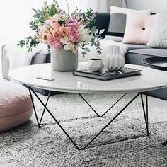 37 Coffee table as decoration for your living room, . - 37 coffee table as decoration for your living room, table - Coffee Table Styling, Decorating Coffee Tables, Coffe Table, White Round Coffee Table, Coffee Table Flowers, Oversized Coffee Table, Coffee Table Arrangements, Flower Table, Cozy Coffee