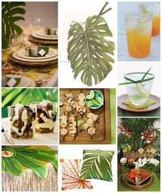 End of Summer Luau  End the summer with a laid-back luau for your closest friends. Get inspired by pretty palm fronds and add color with pops of orange. Guests will feel as though they've traveled to a secluded island for your luau!