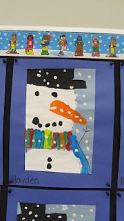 Our 'Close-up' Snowmen. We painted 'whole' smowmen first, then cropped them to give a close-up look The kids were a bit worried about me cutting part of their snowman off, but in the end, they really liked them.