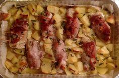 Involtini di fesa di maiale ripieni con punte di asparago,parmigiano e uva sultanina. Contorno di patate insaporite con rosmarino e scalogno.
