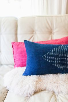 Sashiko inspired embroidered pillow