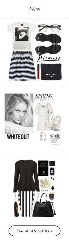 """""""B&W"""" by winkiefingers ❤ liked on Polyvore featuring J.Crew, ASOS, Monki, NARS Cosmetics, Vanessa Bruno Athé, Old Navy, Donna Karan, Joanna Maxham, Speck and springwhiteout"""