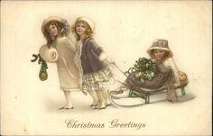 Christmas Greetings Little Girls on Old Sled Vintage Fashions c1910 Postcard | eBay