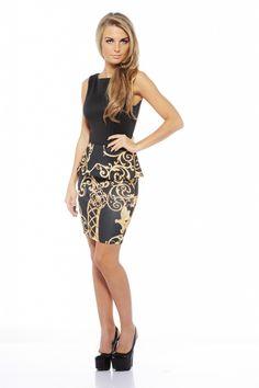Printed Peplum Dress $42 shopmodmint.com