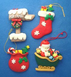 "lot of 4 clay dough Christmas ornaments 3"" santa in sleigh mail box stocking bag"