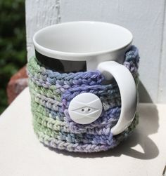 Mug Cozy, Cup Cozy, Coffee Mug Cozy, Crocheted, Purple Cozy