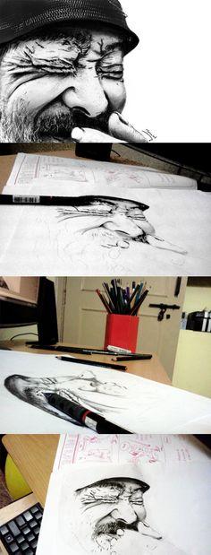 My Pencil Drawing, Old man