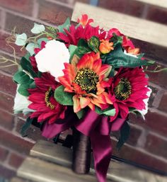 """10"""" Bridal bouquet - Burgundy and Orange Sunflower Bouquet: Perfect for fall/outdoor weddings"""