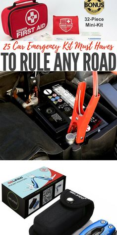 25 Car Emergency Kit Must Haves to Rule Any Road — Most of us believe it or not do not have any kind of kit for emergencies in our car. I think the statistics is like of Americans have an emergency kit for that just in case moment Emergency Survival Kit, Survival Gear, Survival Skills, Survival Prepping, Car Accessories Diy, Car Essentials, Camping Supplies, Disaster Preparedness, Kit Cars
