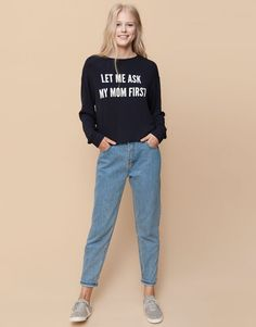 Pull&Bear - woman - back to school - text printed sweater - navy - 09559322-I2015
