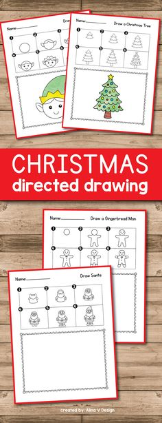 Christmas Directed Drawing  for preschool, kindergarten and first grade are the perfect Christmas activities. Your students will learn how to draw a reindeer, an elf, Santa, Rudolph, and other pictures with these easy lessons. Teachers and students will have so much fun this holiday season by learning to draw and paint together these cute Christmas characters.