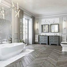 Breathtaking master bath design...  .  via @bathrooms_of_insta @dezignmarket  #lovefordesigns#homedecor#homedesign#fixerupper#interiordecor#luxury#newhome#lighting#homeinspo#living#designideas#interiors#decor#homeinspo#instadesign#hogar#casa#interiorinspo#staging#realestate#bathroominspo#bathroomideaa