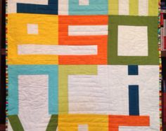 Modern Geometric Crib Quilt Linen Pinwheel by bperrino on Etsy