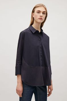COS image 2 of Cotton poplin and jersey shirt in Navy