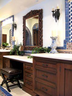 Maraya Interiors vanity cabinets with malibu catalina tiles in blue and limestones.  #malibutile, #spanishstyle, #Spanishbath, #spanishtile,