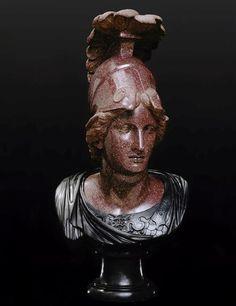 Minerva (Athena), Roman bust (bronze, porphyry), 1st-2nd century AD, (Musée du Louvre, Paris).