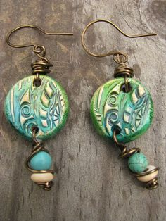 Spontaneous Soul Mixed Media Polymer Clay Rustic Bohemian Gypsy Earrings One of a kind jewelry free spirit unique
