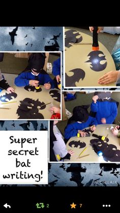 What a brilliant idea - secret bat writing Super Hero Activities, Activities For Boys, Phonics Activities, Writing Activities, Activity Books, Kindergarten Writing, Activity Ideas, Superhero Writing, Superhero Classroom