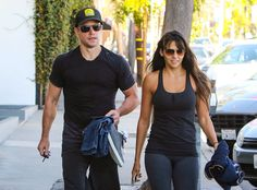 The couple that works out together, stays together! Matt Damon and his wife, both rockin' cool sunnies, were spotted post-sweat session!