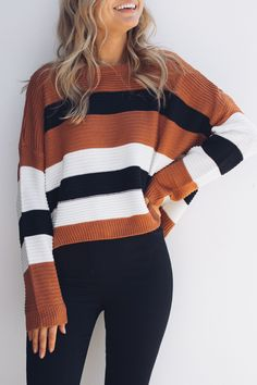 GONZO KNIT - STRIPE $59.95 @esther.com.au #fashion #outfitoftheday #outfit #esther #knitwear