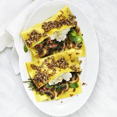 Öppen lasagne med spenat, ricotta och mandelpesto - Recept - Tasteline.com