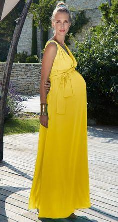 Envie de Fraises | Long yellow maternity dress