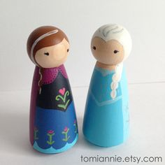 Anna & Elsa -- Hand-painted Peg Dolls by Tomi Ann Hill.  Perfect for an Easter basket surprise!