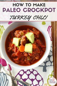 Delicious Paleo turkey chili made in the crockpot (slow cooker)! Paleo Fall Recipes, Paleo Crockpot Recipes, Healthy Eating Recipes, Slow Cooker Recipes, Whole Food Recipes, Free Recipes, Healthy Meals, Delicious Recipes, Holiday Recipes