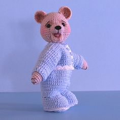Jody by S. Pendleton Crochet Jody and her pajamas from fingering weight yarn with a size 3 (2.1mm) crochet hook. You'll also need a little bit of size 10 thread and a size 7 (1.65mm) hook for the trim on her PJs.