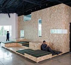 Creative Office Interior Design Love the back to back desks for shared office space. Ballard Office Design www. Corporate Interiors, Office Interiors, Commercial Design, Commercial Interiors, Uses Of Wood, Chillout Zone, Design Comercial, Oriented Strand Board, Bureau Design