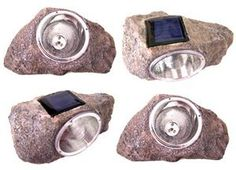2 Large Outdoor 4-LED Solar Garden Lawn Deco Rock Light by Sky Products. $33.00. This auction is for a case of 2 brand new Solar Garden Rock Spot lights. These energy-efficient, low-maintenance rock lights are water resistant and ideal for illumination of lawn, doorways, driveways, sidewalks, flowerbeds, trees, patios or whatever accent lighting is needed at night. They are a must-have for everyone's garden.    2 single light kits  No Wiring and/or assembly required  Safe and wa...