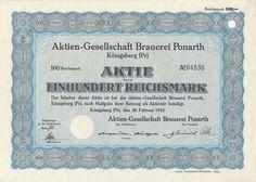 Aktien-Gesellschaft Brauerei Ponarth Aktie 100 RM 1942