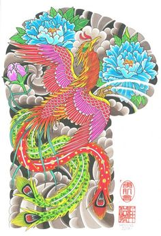 fenix tattoo oriental desenho - Pesquisa Google Japanese Phoenix Tattoo, Japanese Tattoo Art, Japanese Tattoo Designs, Japanese Sleeve Tattoos, Japanese Art, Traditional Japanese, Torso Tattoos, Body Art Tattoos, Crow Tattoos