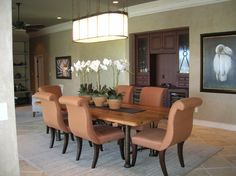 Beach house dining room with built in wine bar