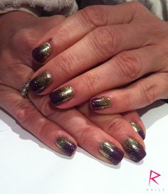 Rockstar CND Shellac with Irresistible Art glitter on natural nails