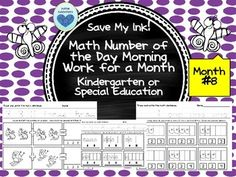 Save your ink and your time by...  Using this eighth month of number of the day morning work for kindergartners or special needs kiddos. Clean lines and traceable numbers and words make this perfect for students in kindergarten or those with special needs.