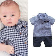 New Baby Boys Cotton Plaid Shirt Jumpsuits Bodysuit Outfits Rompers Pants Blouse  | eBay