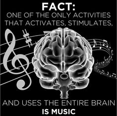 Sight reading/singing stimulates the entire brain. So those who play instruments (yes, the voice is an instrument) are using their whole brain. Not people simply listening to music or singing along to the radio.