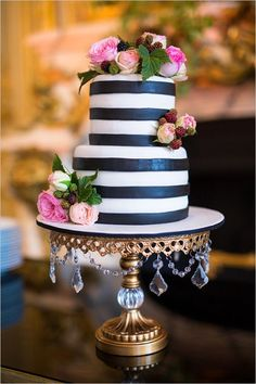 Gold Wedding Cakes Chandelier Ball Base Round Cake Stand // Antique Gold : shown // Black and Gold Paris Wedding // see more on Wedding Chicks // Paris Bridal Shower, White Bridal Shower, Bridal Shower Cakes, Gold Bridal Showers, Chanel Bridal Shower, Pretty Cakes, Beautiful Cakes, Striped Cake, Striped Wedding