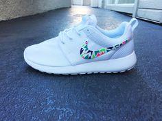 Custom Nike Roshe Run sneakers for women, Lime, purple, green, pink, tribal…