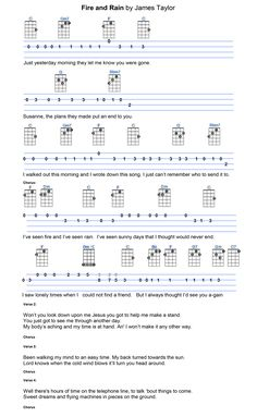 Fire And Rain James Taylor Ukulele Tabs Songs, Ukulele Fingerpicking Songs, Ukulele Songs Beginner, Music Tabs, Music Chords, Guitar Songs, Music Music, Sheet Music, Piano