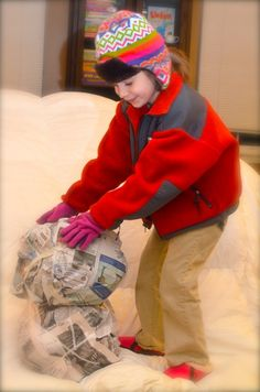 Newspaper Snowman; preK-5; Science Learning Center and Creative Arts Learning Center
