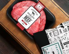 FEATHER & BONE is high end food retail shop, selling mainly meats, deli , dairy and fresh produce. Food Box Packaging, Vintage Packaging, Food Packaging Design, Food Retail, Retail Shop, Meat Store, Food Branding, Raw Chicken, Butcher Shop